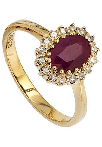 JOBO Diamantring, 585 Gold mit 16 Diamanten und Rubin kaufen