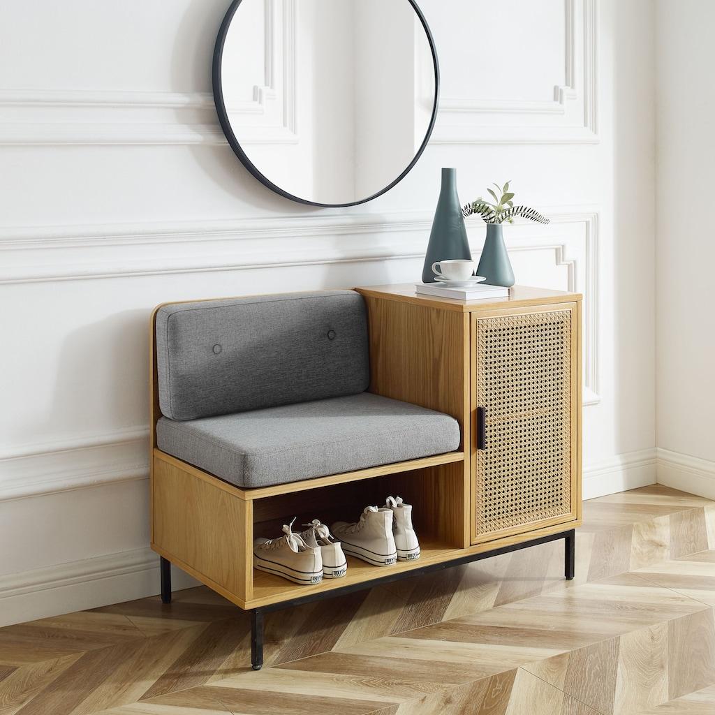 Leonique Sitzbank »Naemi«, Garderobenbank mit Wiener Geflecht und gepolstertem Sitz -und Rücken