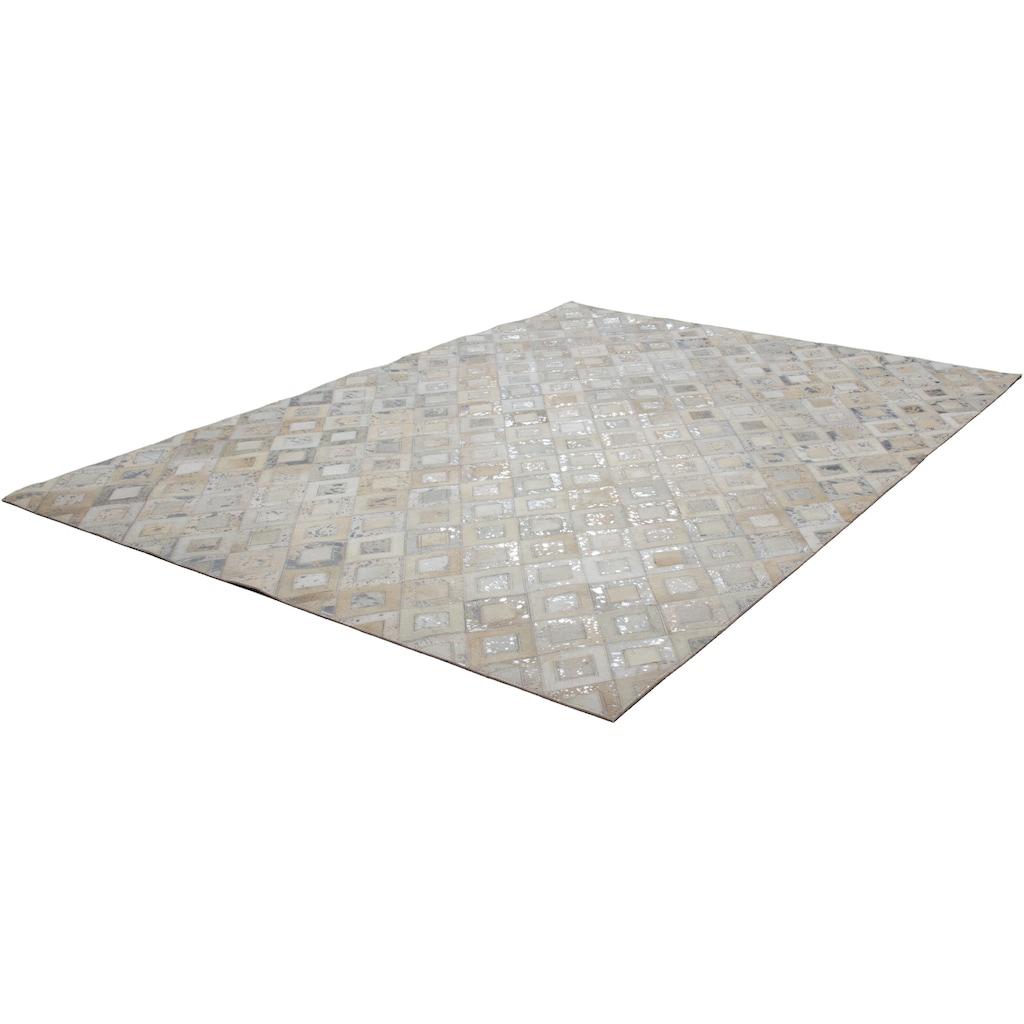 Kayoom Lederteppich »Spark 110«, rechteckig, 8 mm Höhe, Patchwork-echtes Leder-Fell, Wohnzimmer