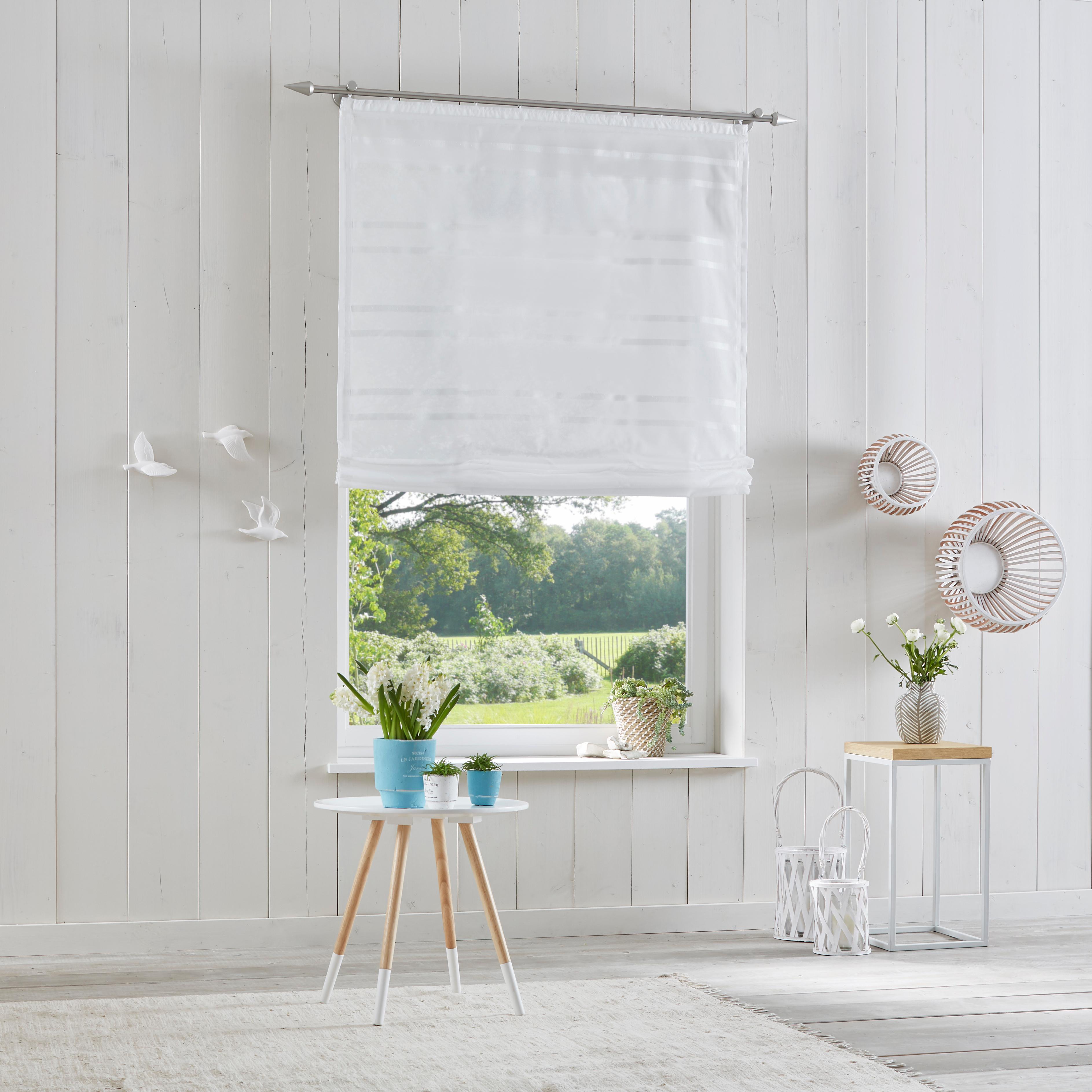 Raffrollo »Assen«, my home, mit Klettband | Heimtextilien > Jalousien und Rollos > Raffrollos | Weiß | Polyester - Stoff | MY HOME