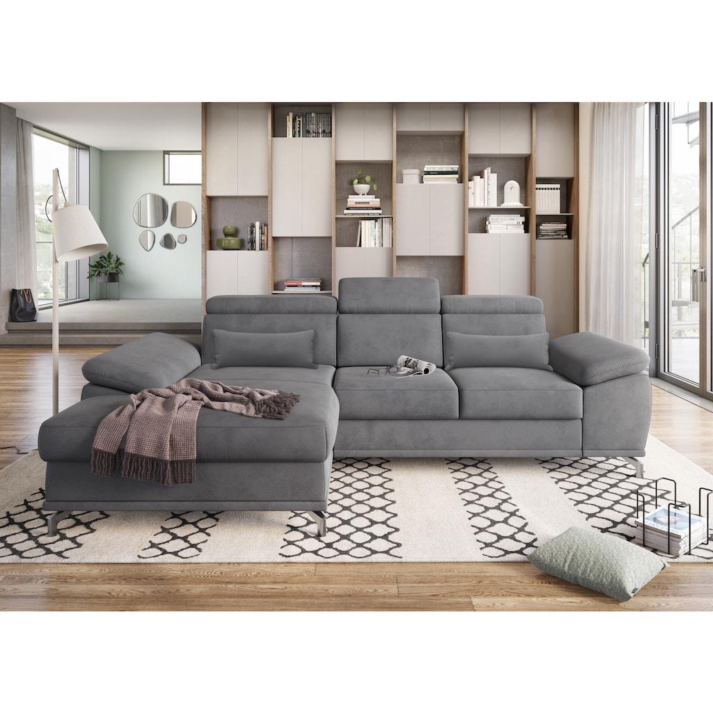 sit&more Ecksofa, mit Sitztiefen- und Armteilverstellung sowie Federkern, wahlweise mit Bettfunktion und Bettkasten, jeweils inklusive 2 Nierenkissen, frei im Raum stellbar