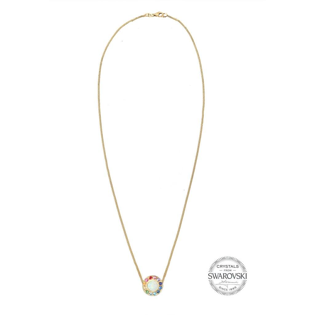 Elli Collierkettchen »Opal Regenbogen Kristalle 925 Silber«