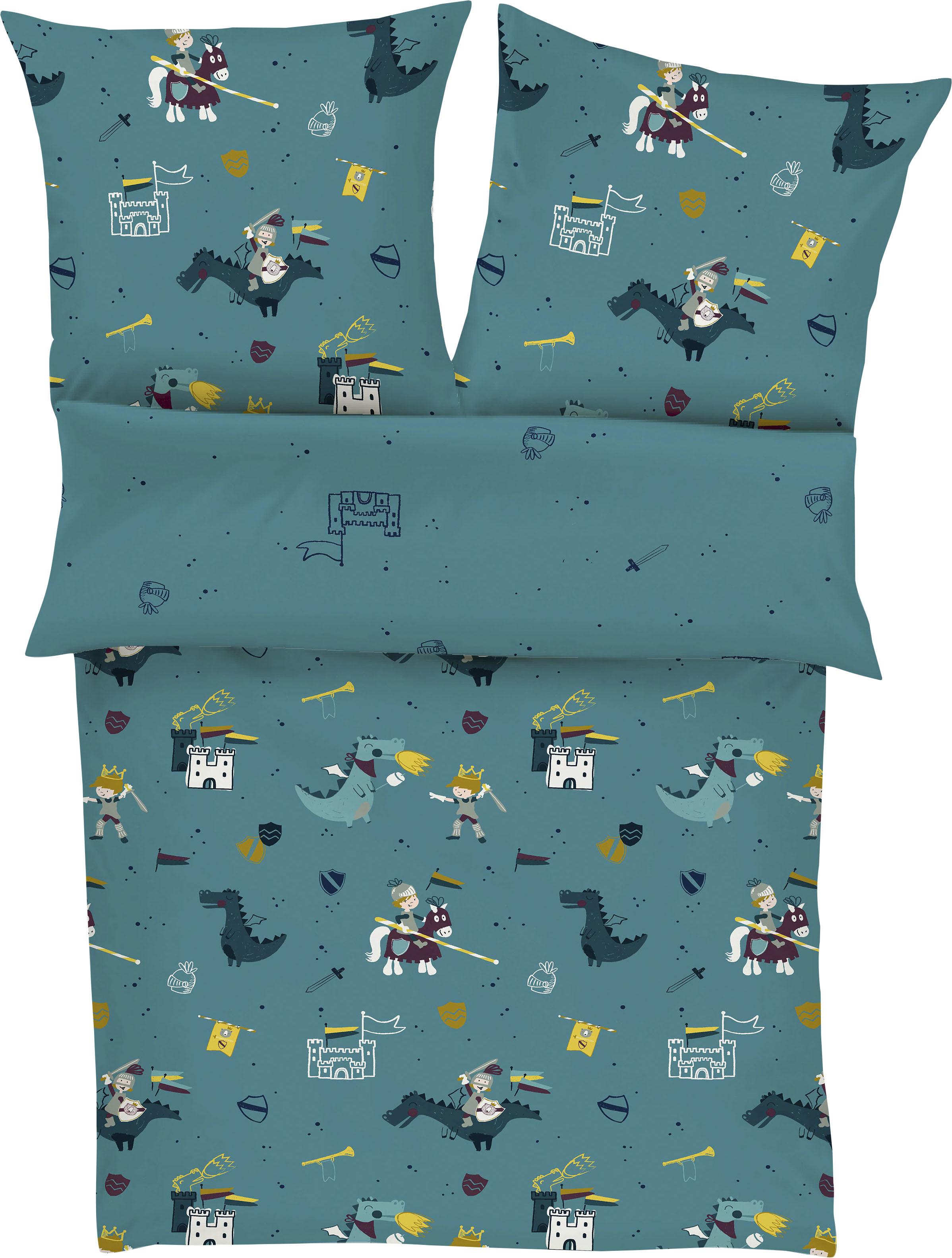 s.Oliver Junior Kinderbettwäsche Ritter, mit Rittermotiven blau Bettwäsche-Sets Bettwäsche, Bettlaken und Betttücher