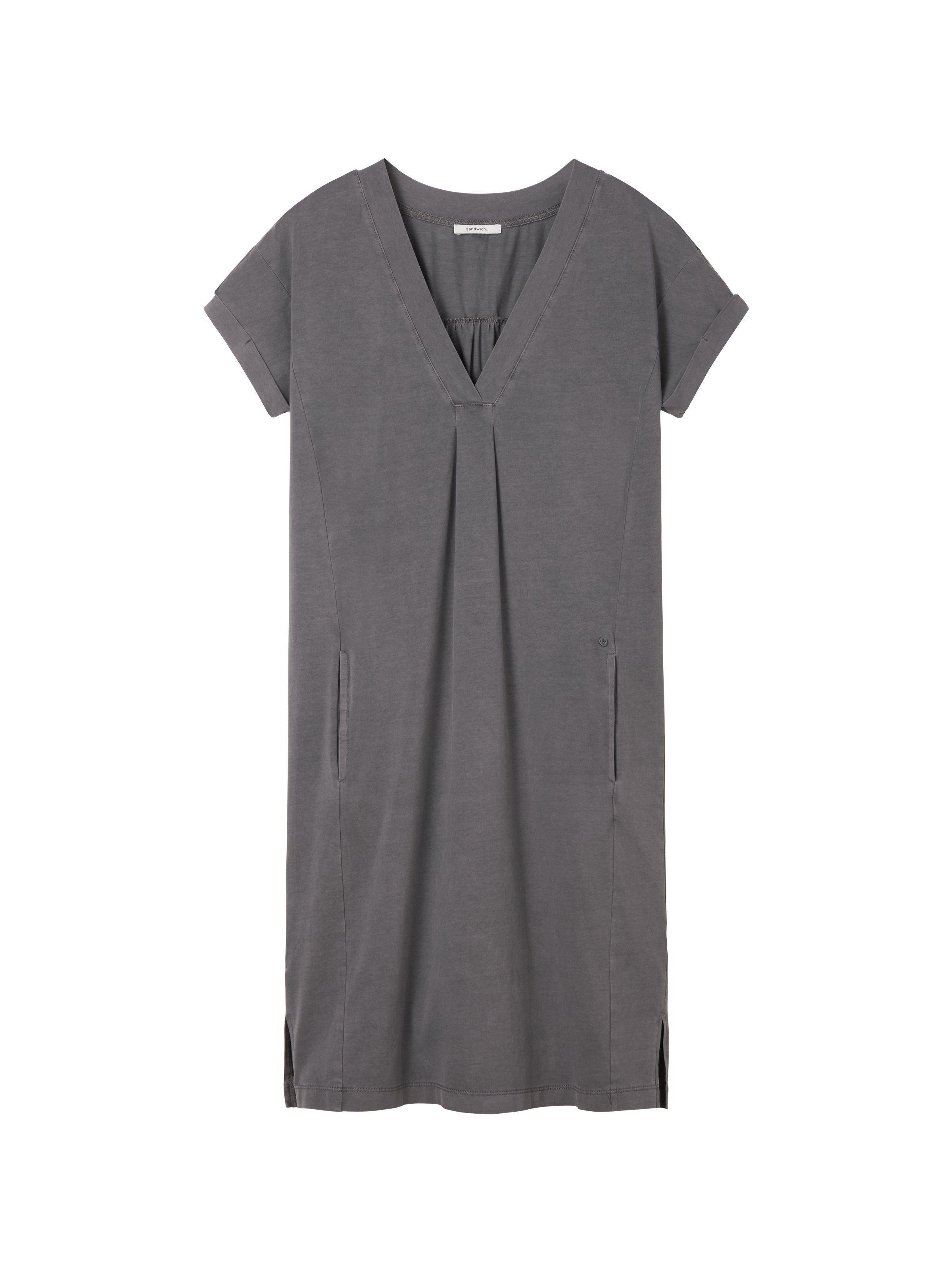 Sandwich Kleid mit All-over-Print und Smok-Detail