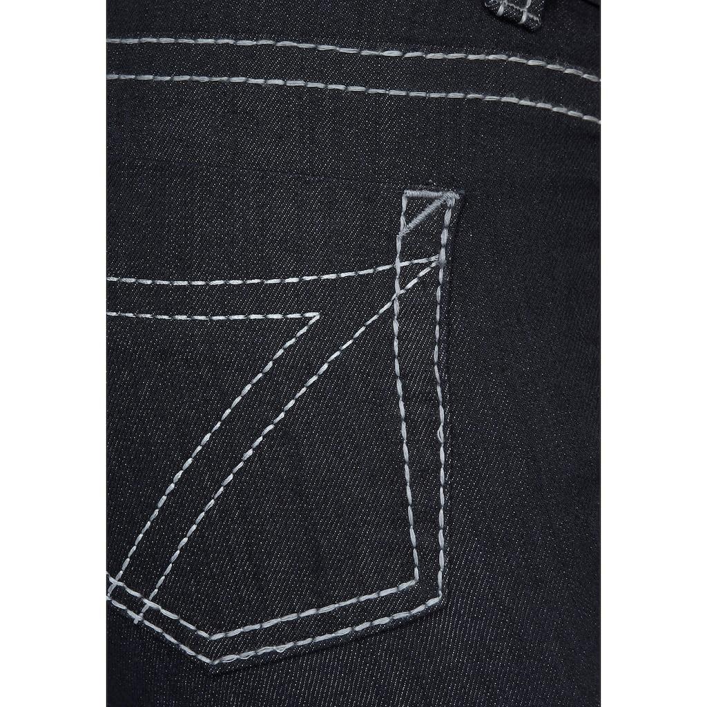 Arizona Jeansbermudas »Kontrastnähte«, Mid Waist