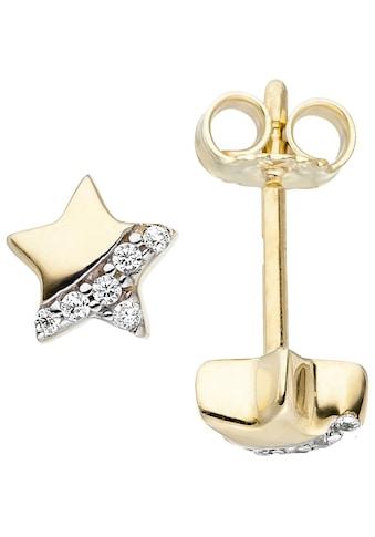JOBO Paar Ohrstecker »Stern«, 375 Gold mit Zirkonia kaufen
