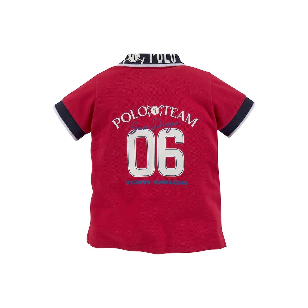TOM TAILOR Polo Team Poloshirt, Kragen mit Streifen und Logodruck