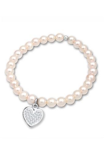 Elli Perlenarmband »Herz Perle Kristalle 925 Silber« kaufen