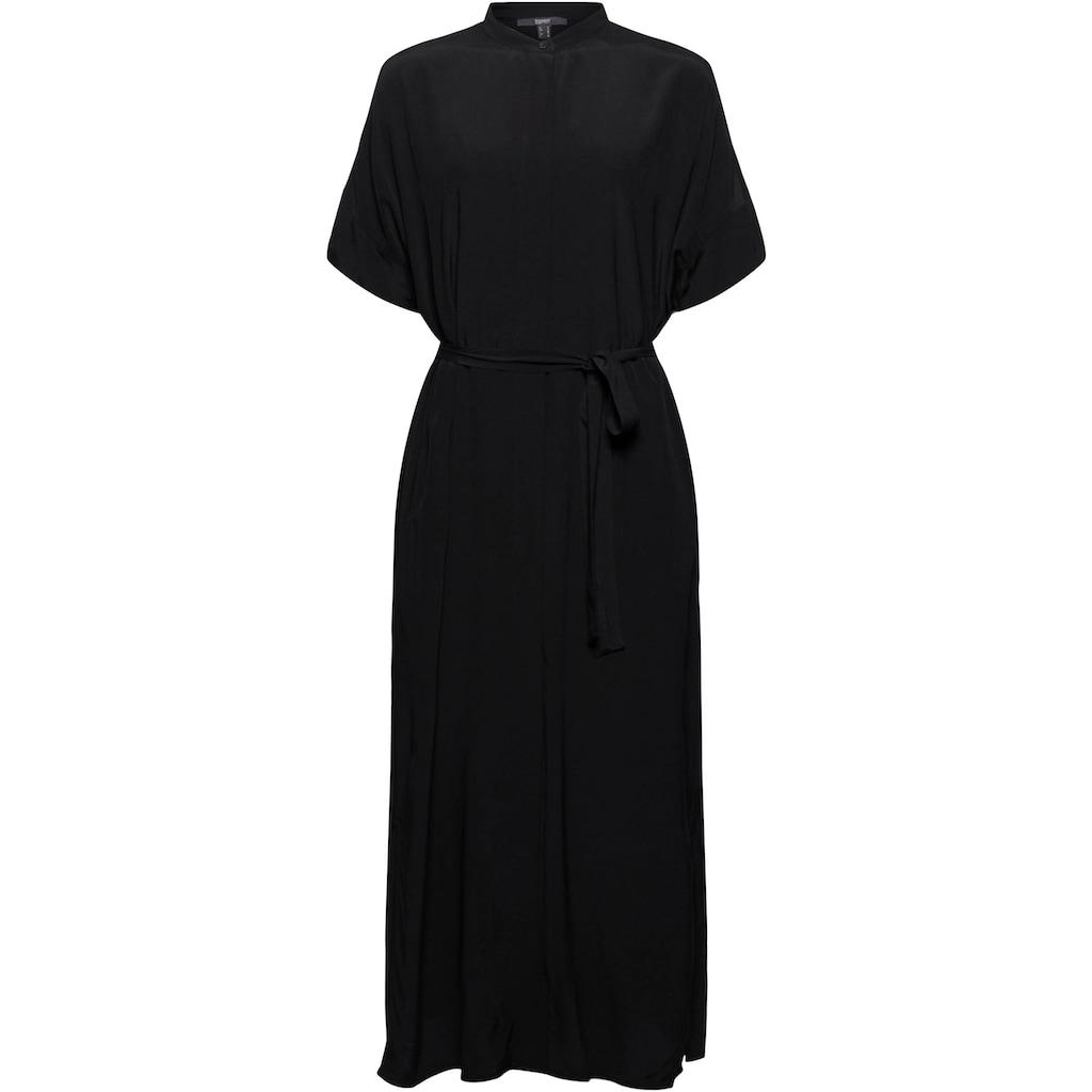 Esprit Collection Blusenkleid, (2 tlg., mit Bindegürtel), mit Stehkragen und Seitenschlitzen
