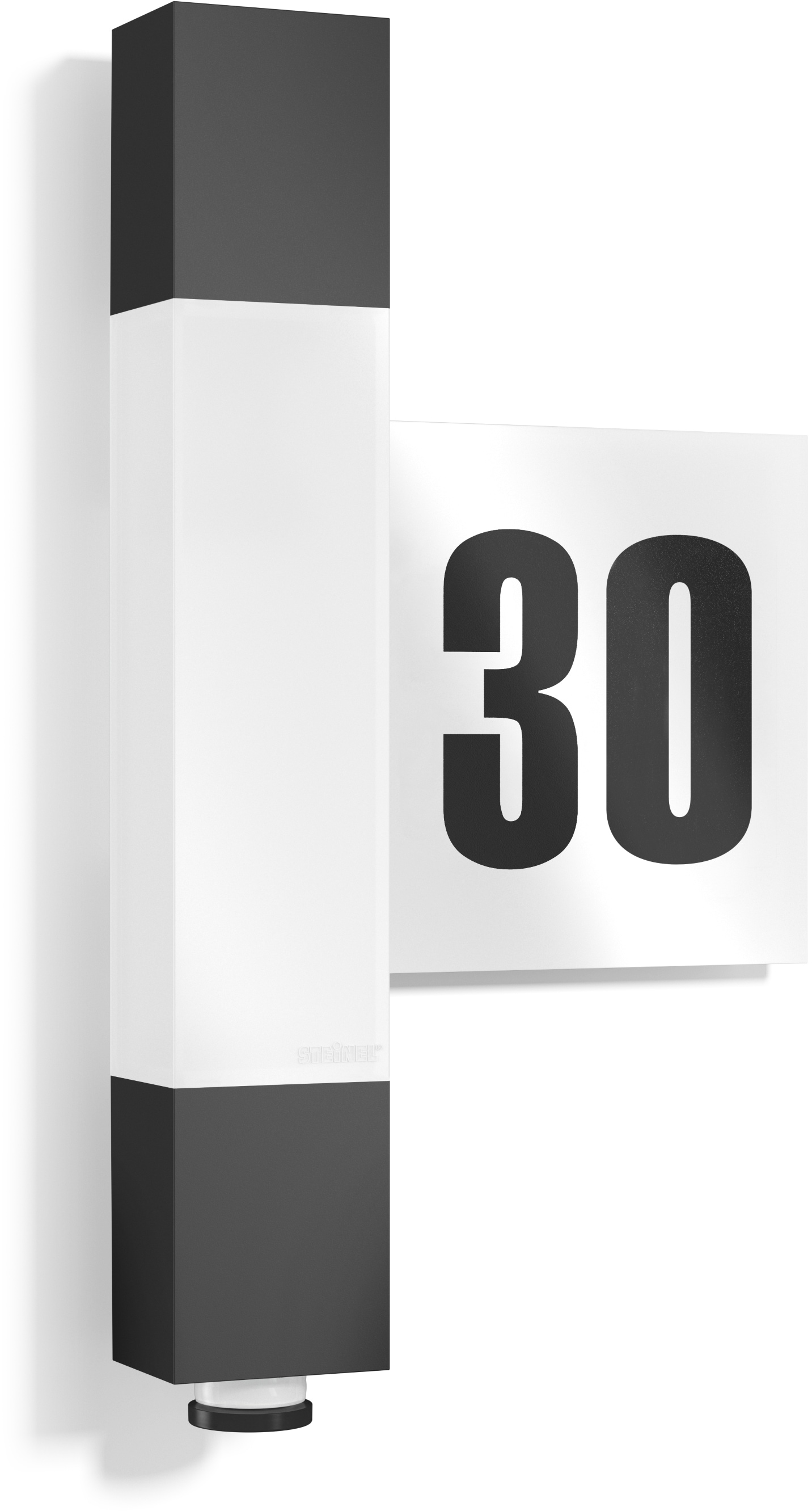 steinel Außen-Wandleuchte L 630, LED-Board, 1 St., Warmweiß, 360° Bewegungsmelder, links oder rechts montierbares Hausnummernpanel