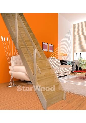 STARWOOD Raumspartreppe »Korfu«, geschl. Stufen, gerade, Holzgeländer rechts kaufen