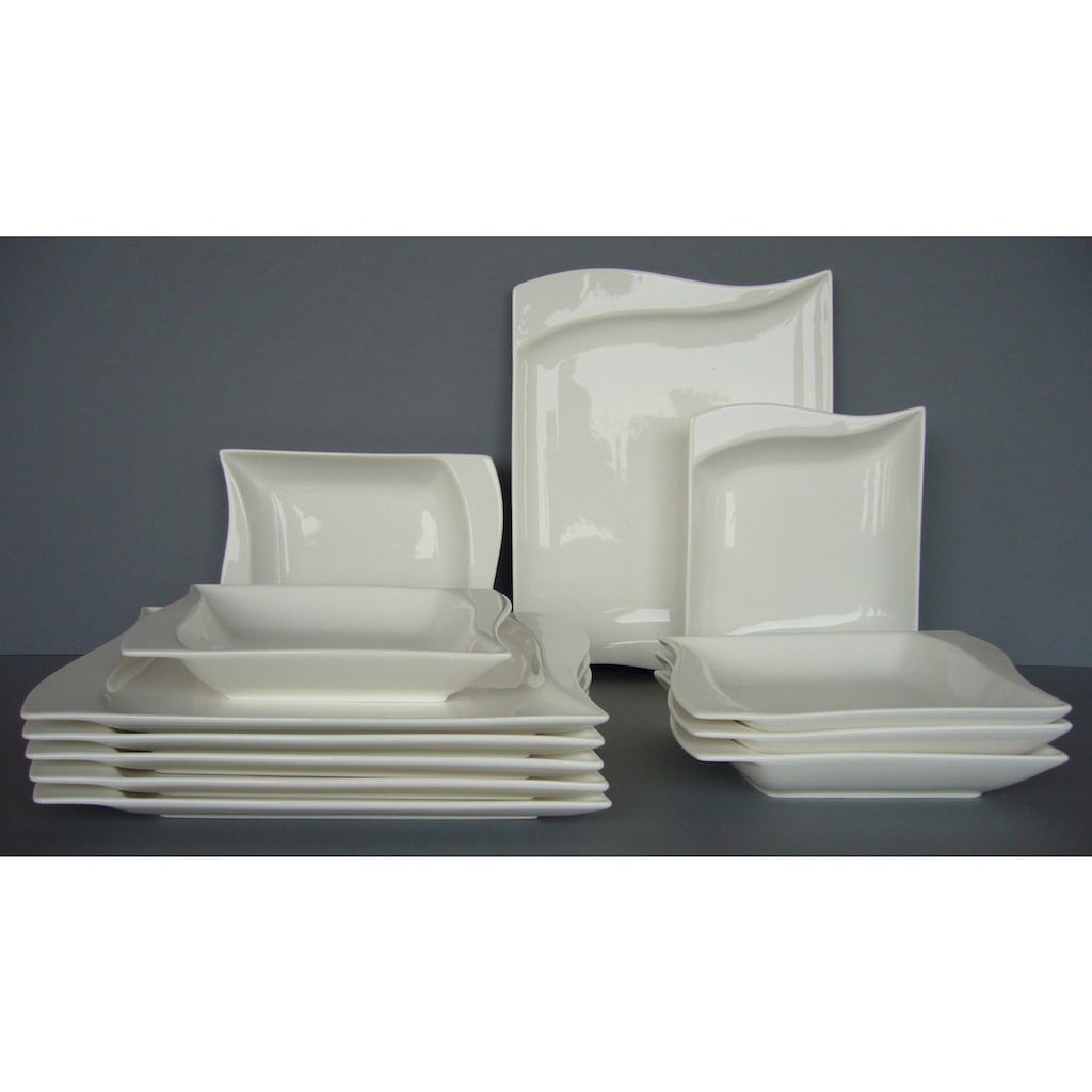van Well Tafelservice »Harmony«, (Set, 12 tlg.), modern geschwungene Kanten, spülmaschinengeeignet, mikrowellengeeignet