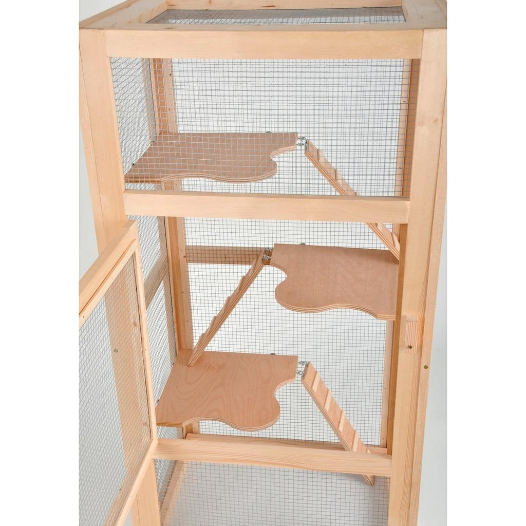 SILVIO design Kleintierkäfig »Nagervoliere Woody«, BxLxH: 60x44x140 cm