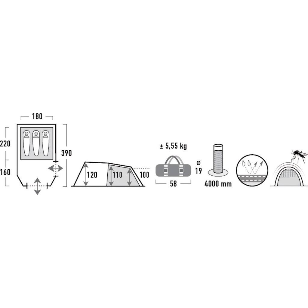 High Peak Tunnelzelt »Atmos 3«, 3 Personen, (Set, mit Transporttasche)
