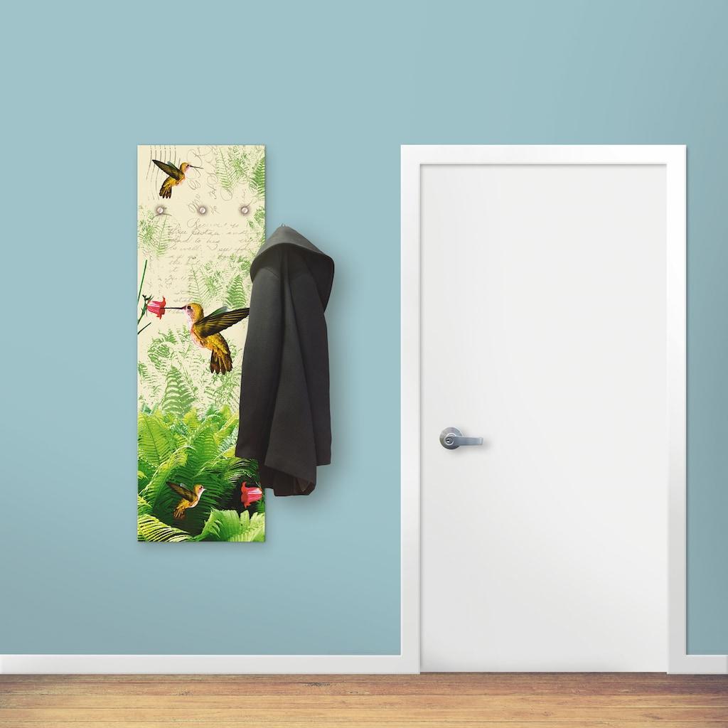 Artland Garderobe »Kolibri«, platzsparende Wandgarderobe aus Holz mit 3 Haken, geeignet für kleinen, schmalen Flur, Flurgarderobe