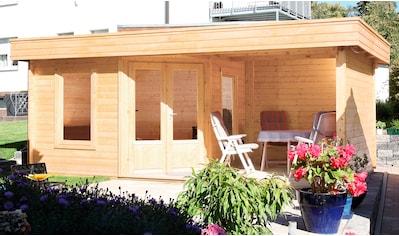 WOLFF FINNHAUS Set: Gartenhaus »Maja 40 - A«, BxT: 599x349 cm, inkl. Fußboden und Anbaudach mit Rückwand kaufen