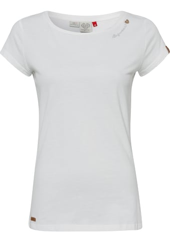 Ragwear T-Shirt »MINT O«, mit Logoschriftzug und Zierknopf-Applikation in natürlicher Holzoptik kaufen
