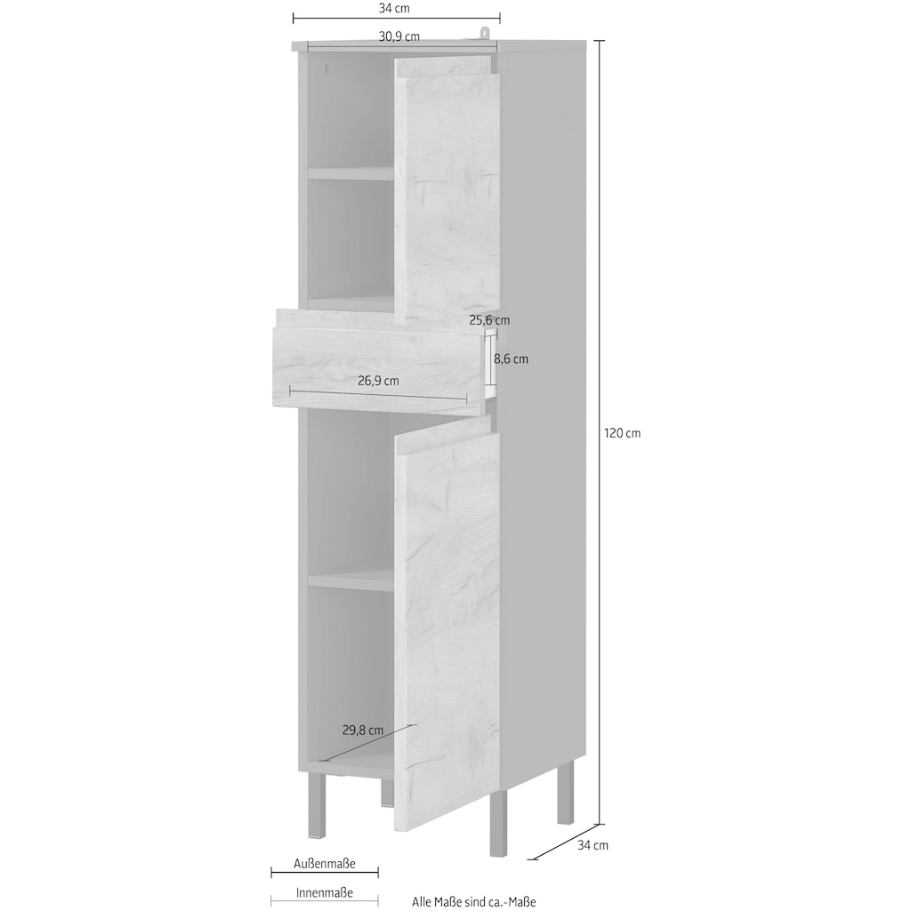 GERMANIA Midischrank »Scantic«, Breite 34 cm, Badezimmerschrank, 2 Türen, 1 Schubkasten, Türdämpfer, grifflose Optik, MDF-Fronten