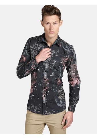 SHIRTMASTER Langarmhemd »noflowersplease«, Baumwollhemd mit Blumenmuster kaufen