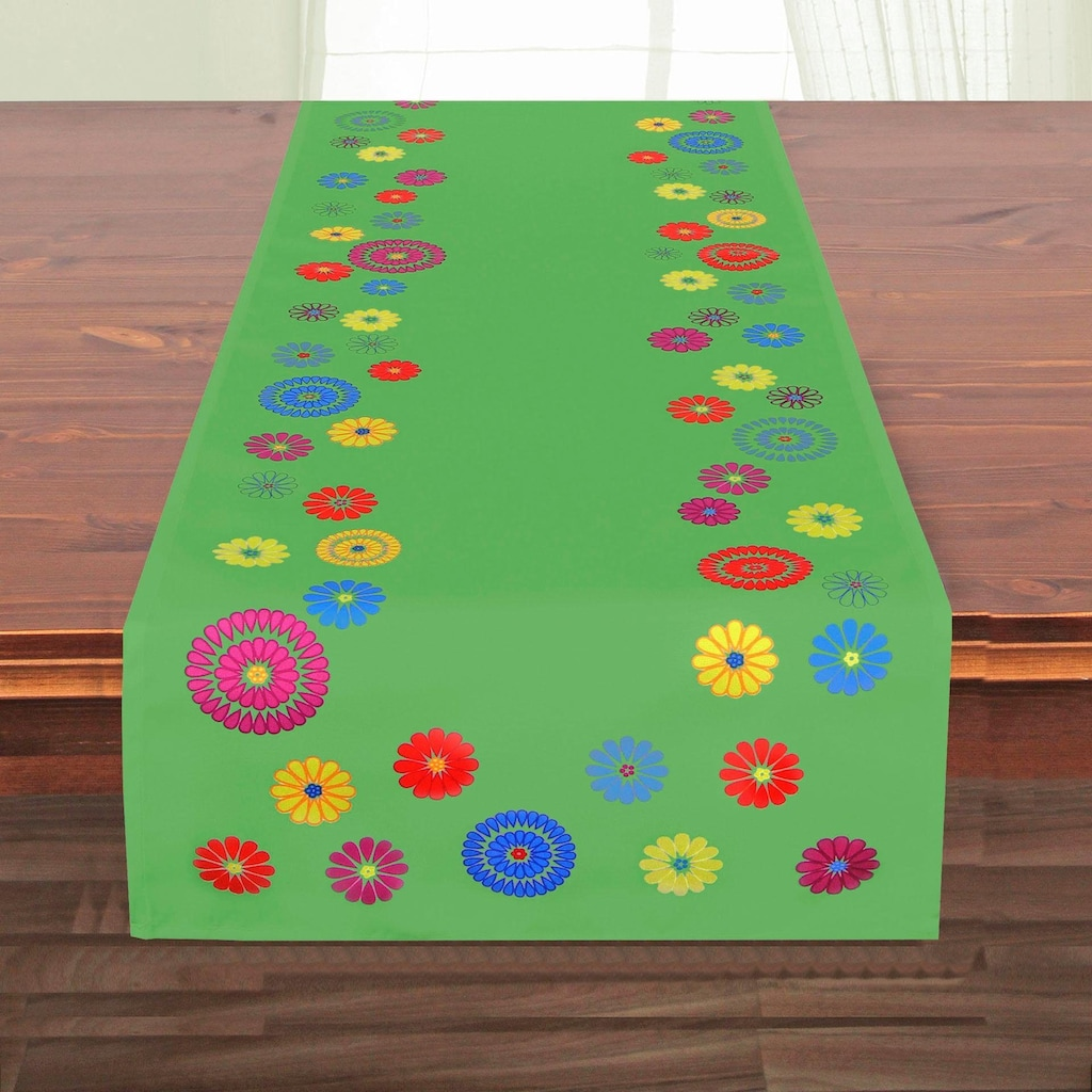 Delindo Lifestyle Tischläufer »FLOWERS«, Strukturgewebe, bedruckt, 180 g/m²