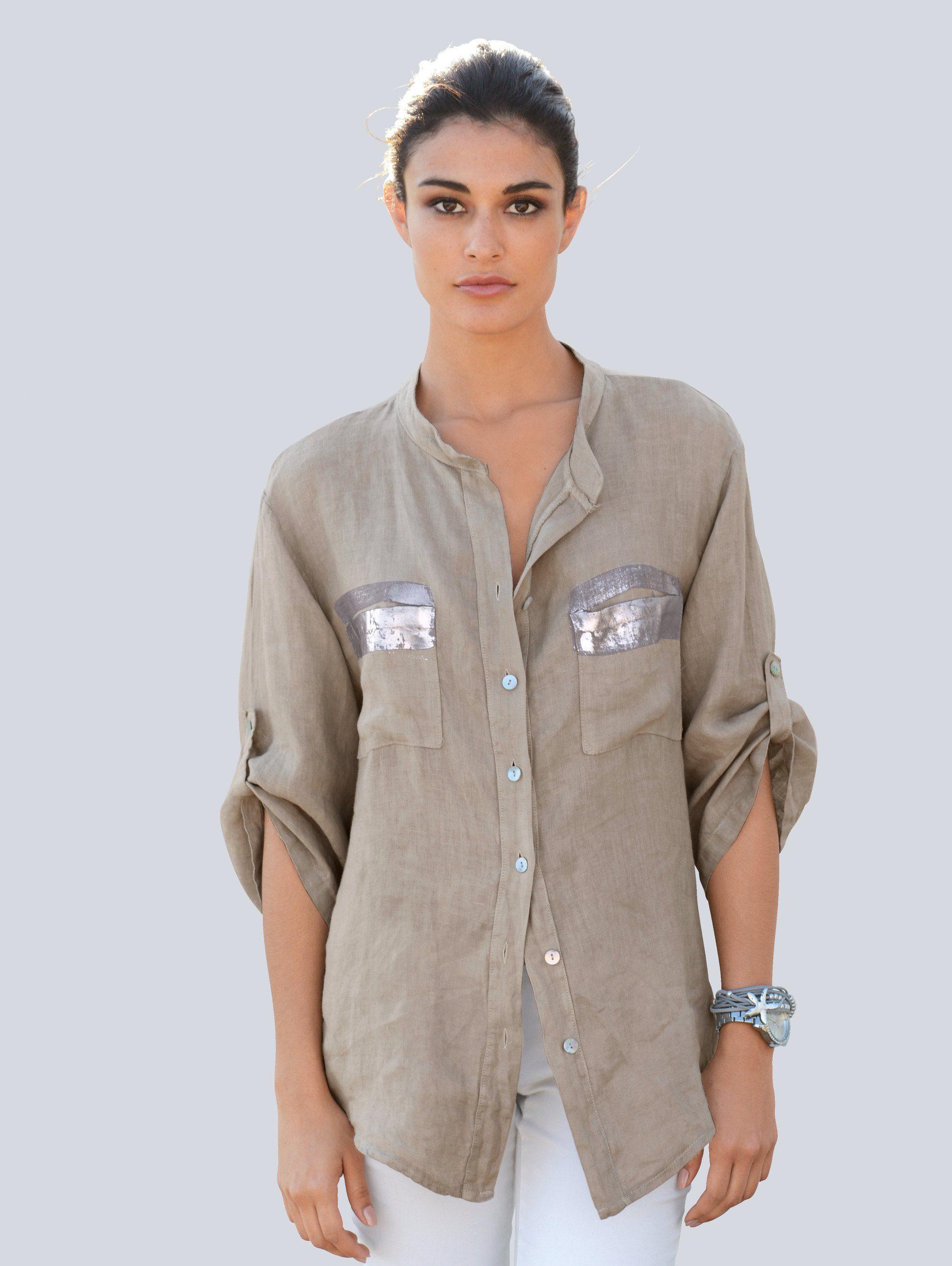 Alba Moda Bluse aus reinem Leinen