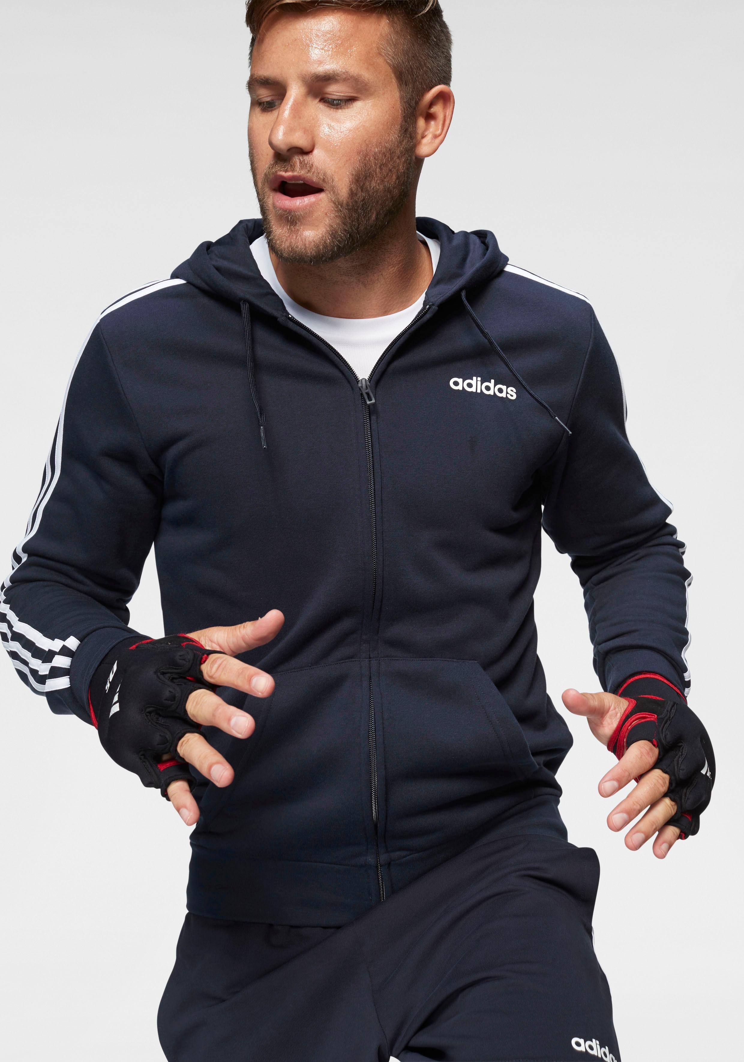 adidas Kapuzensweatjacke ESSENTIALS 3 STRIPES FULL ZIP FRENCH TERRY | Bekleidung > Sweatshirts & -jacken | Blau | Adidas