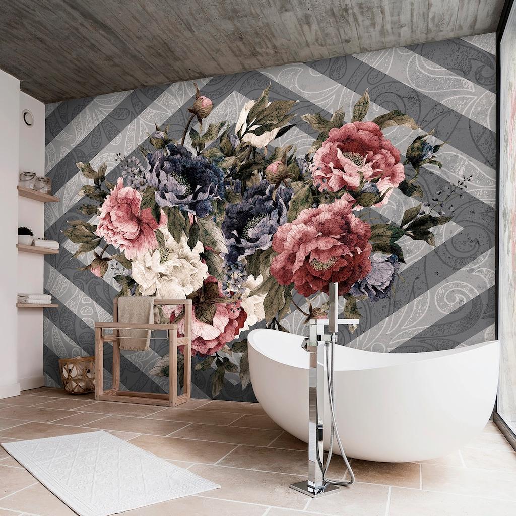 Consalnet Vliestapete »Blumenstrauß/Streifen«, floral