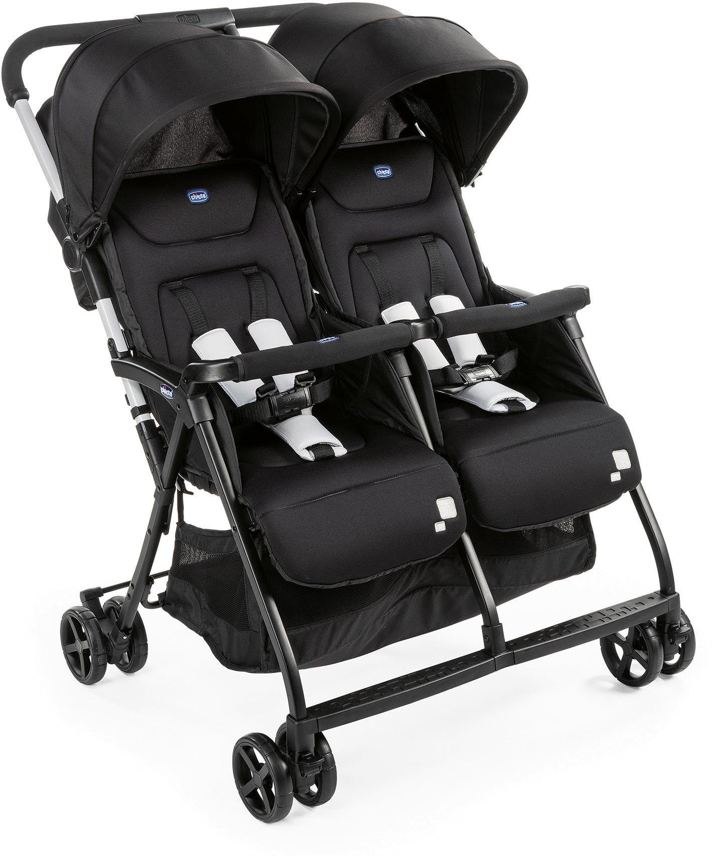 Chicco Zwillingsbuggy OHlalà Twin, Black Night, 15 kg, Zwillingskinderwagen; Kinderwagen für Zwillinge; Buggy Zwillingswagen schwarz Kinder Zwillingsbuggys Buggys Buggies