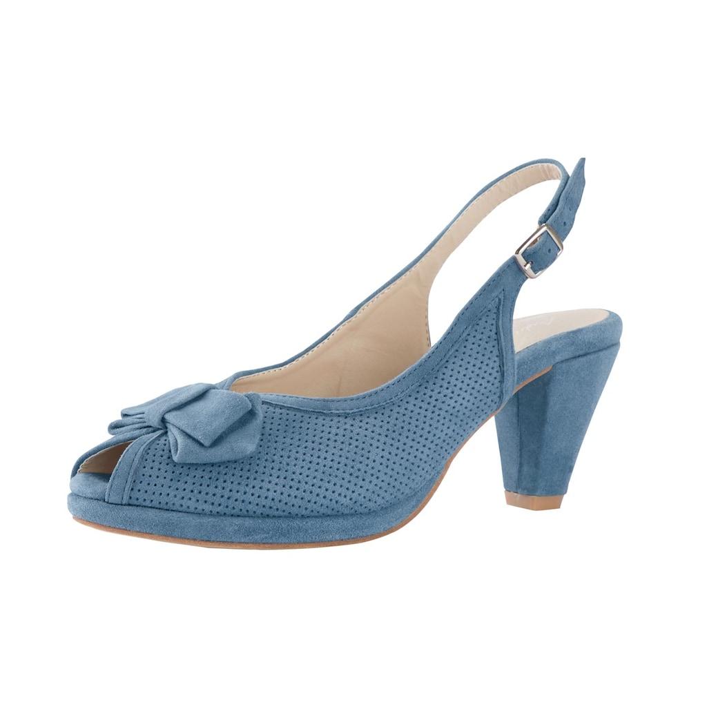 Sandalette mit Perforierung und Zierschleife