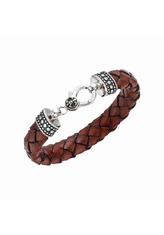 GIORGIO MARTELLO MILANO Armband »mit Ornament, teilweise oxydiert, Leder braun, Silber 925« kaufen