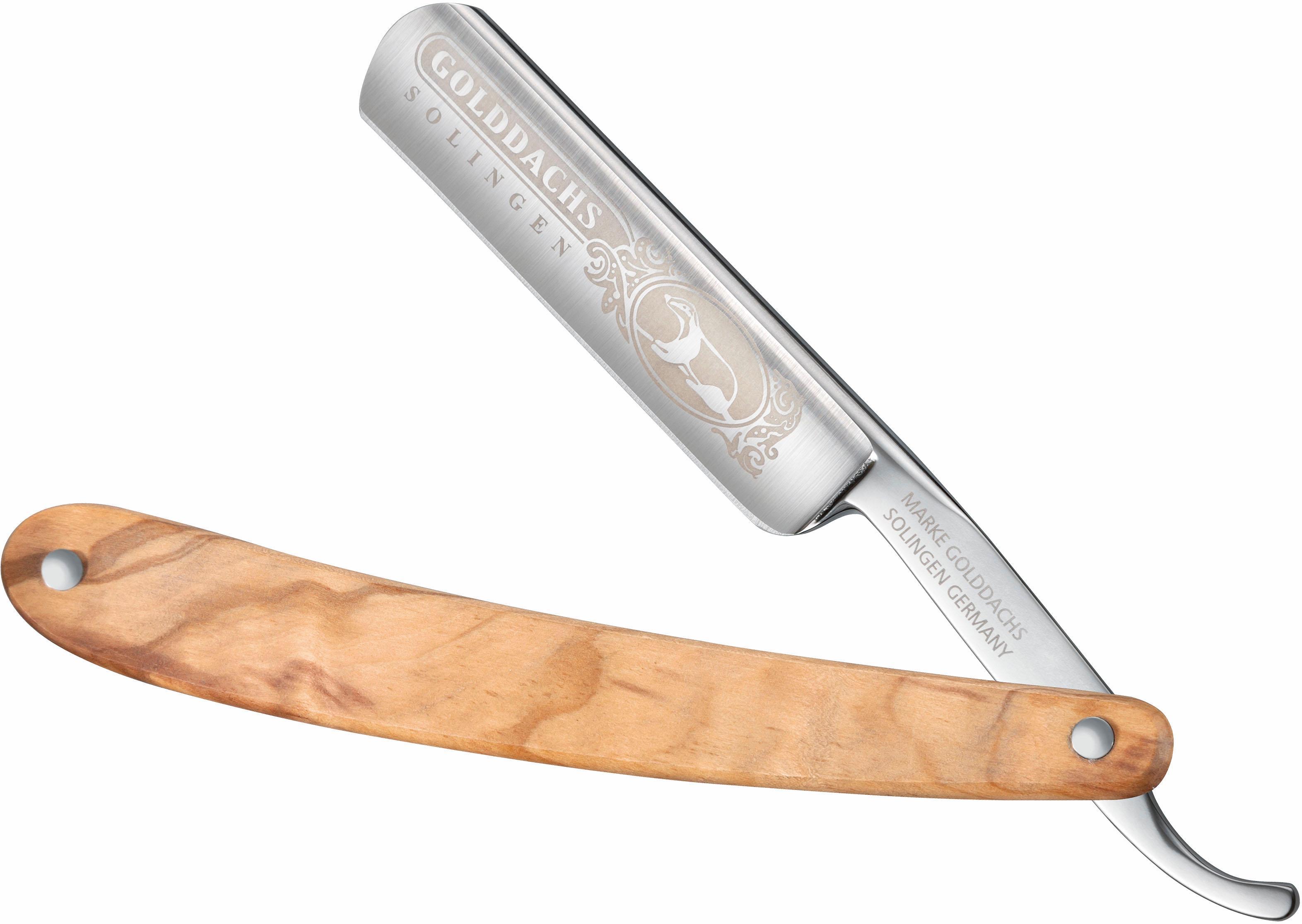 Golddachs, Rasiermesser mit Olivenholzgriff