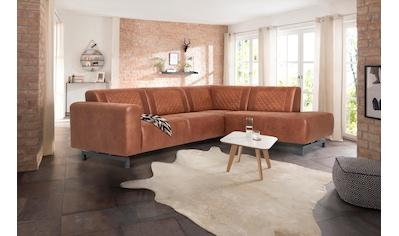 Premium collection by Home affaire Ecksofa »Avila«, in Lederoptik und Metall Füßen kaufen