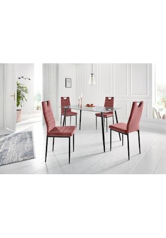 my home Essgruppe »Danny + Mandy«, (Set, 5 tlg.), Glastisch, Breite 140 cm und 4... kaufen