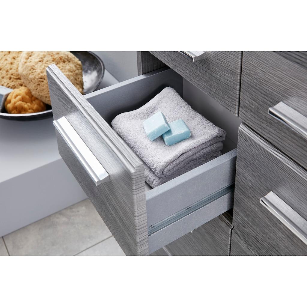 trendteam Badmöbel-Set »Skin«, (Set, 3 St.), Spiegelschrank mit LED-Beleuchtung, Hochschrank und Waschbeckenunterschrank, Fronten in Hochglanz- oder Holzoptik