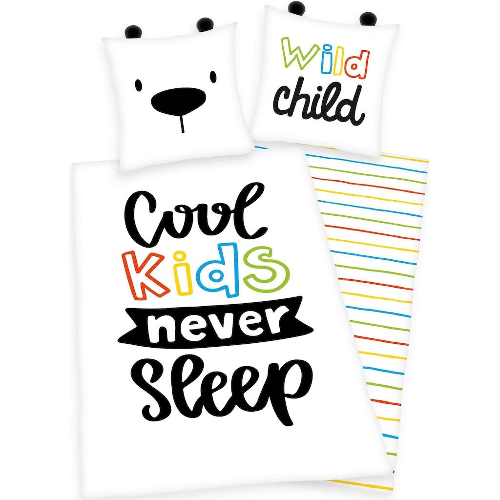 Herding Young Collection Kinderbettwäsche »Cool kids never sleep«, mit Schriftzug