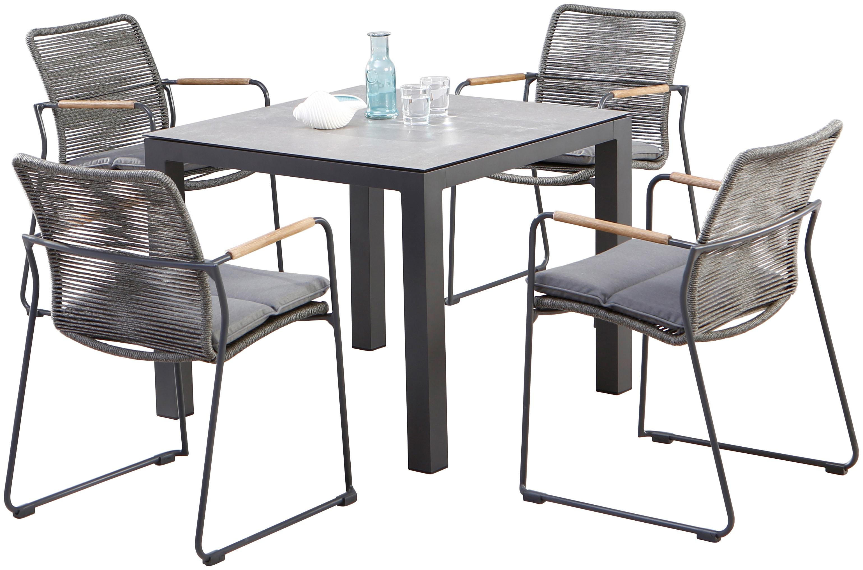 BEST Gartenmöbelset Bormio 5-tlg 4 Sessel Tisch 90x90 cm inkl Sitzkissen