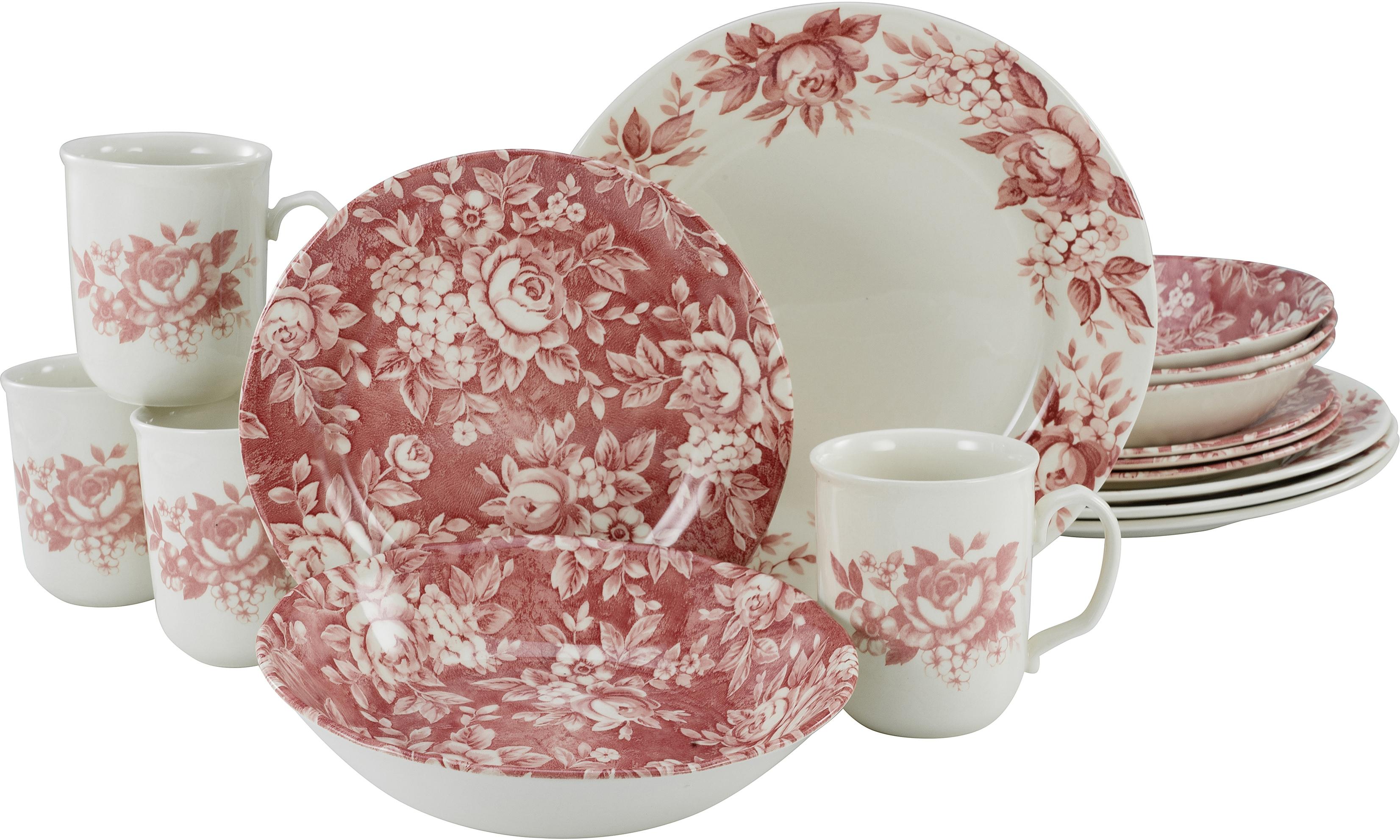 CreaTable Kombiservice Splendor, (Set, 16 tlg.), traditionelles Rosendekor rot Geschirr-Sets Geschirr, Porzellan Tischaccessoires Haushaltswaren