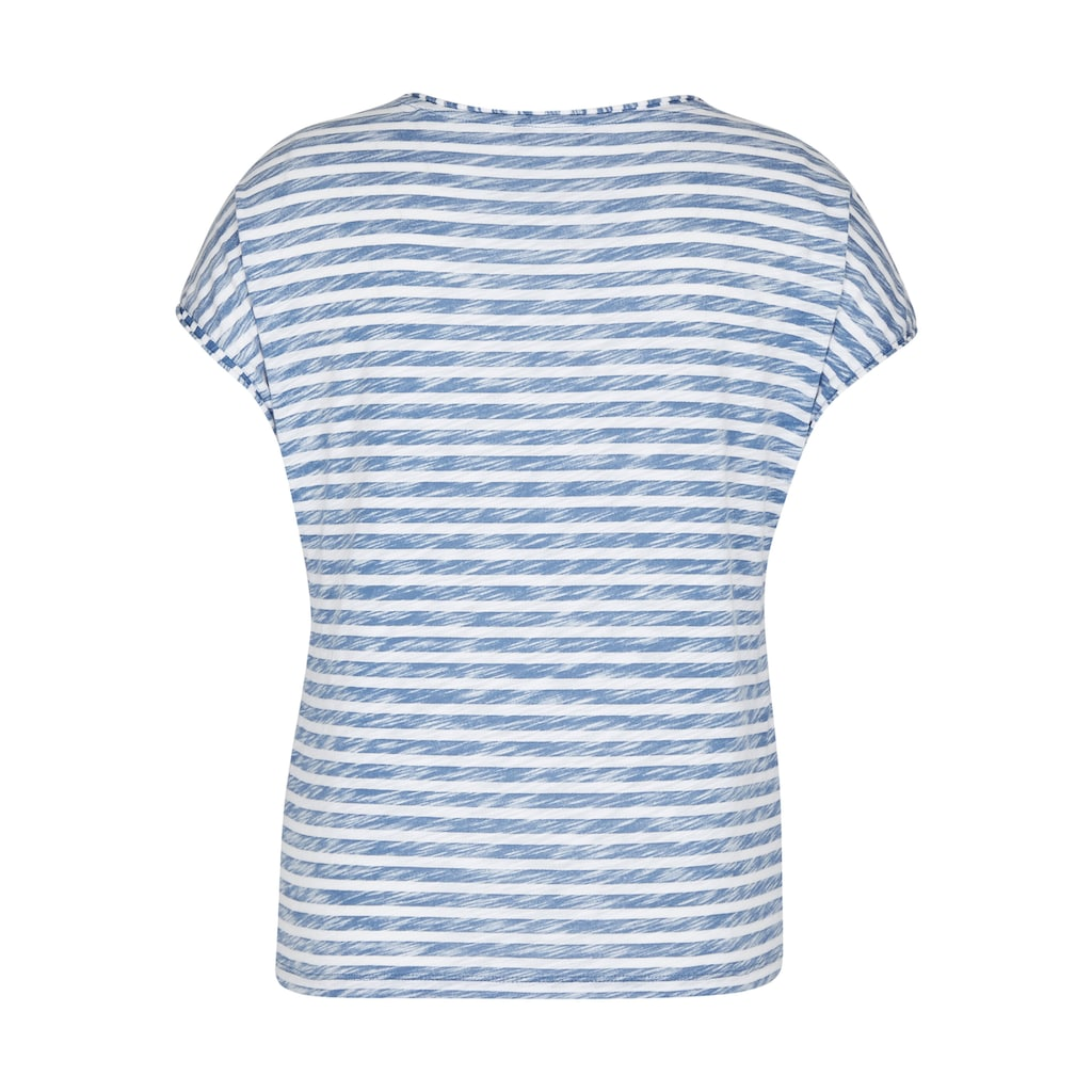 Thomas Rabe T-Shirt, mit geringeltem Allover-Muster und Glitzerdetails