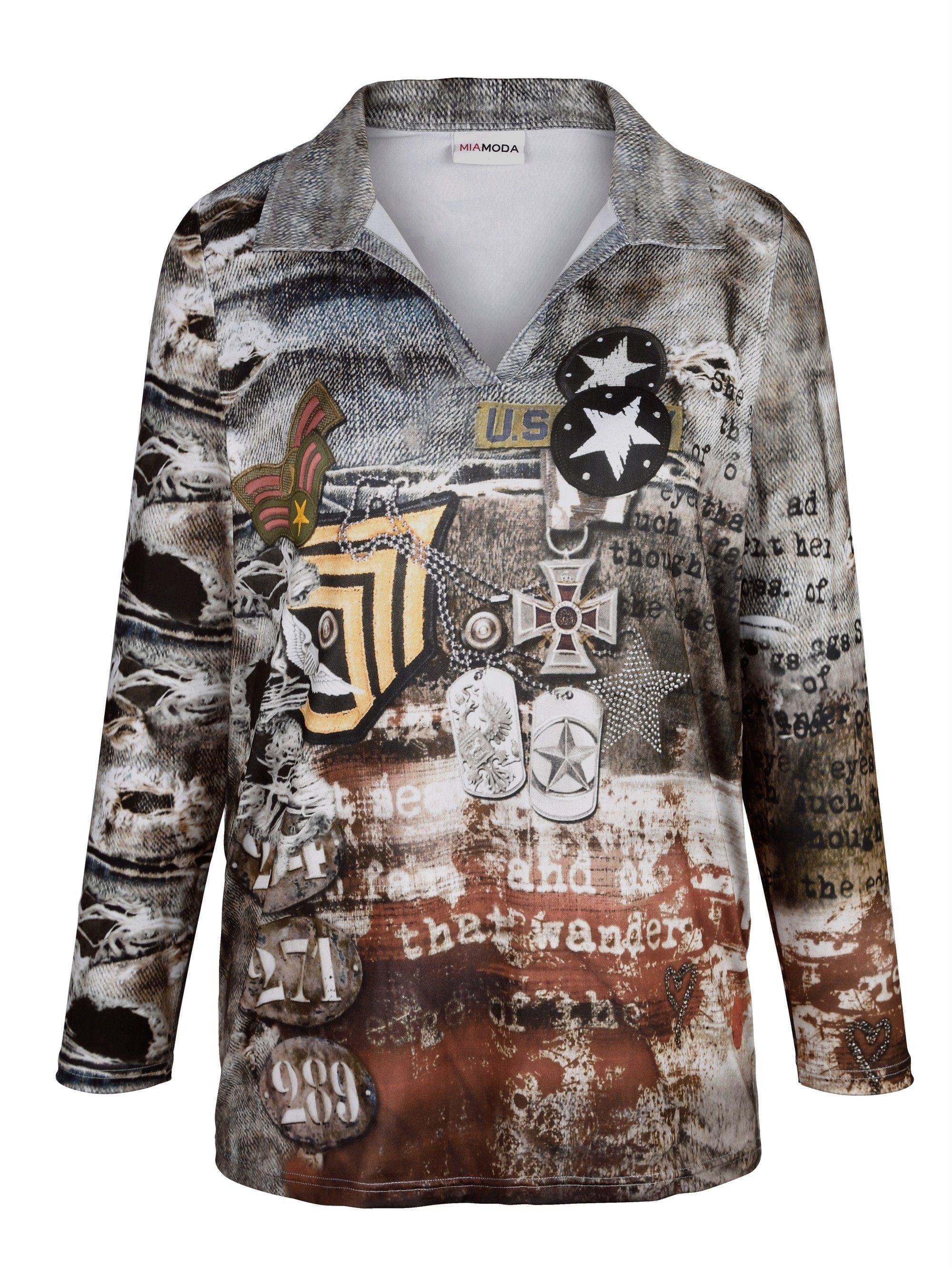 MIAMODA Shirt mit Military-Druck