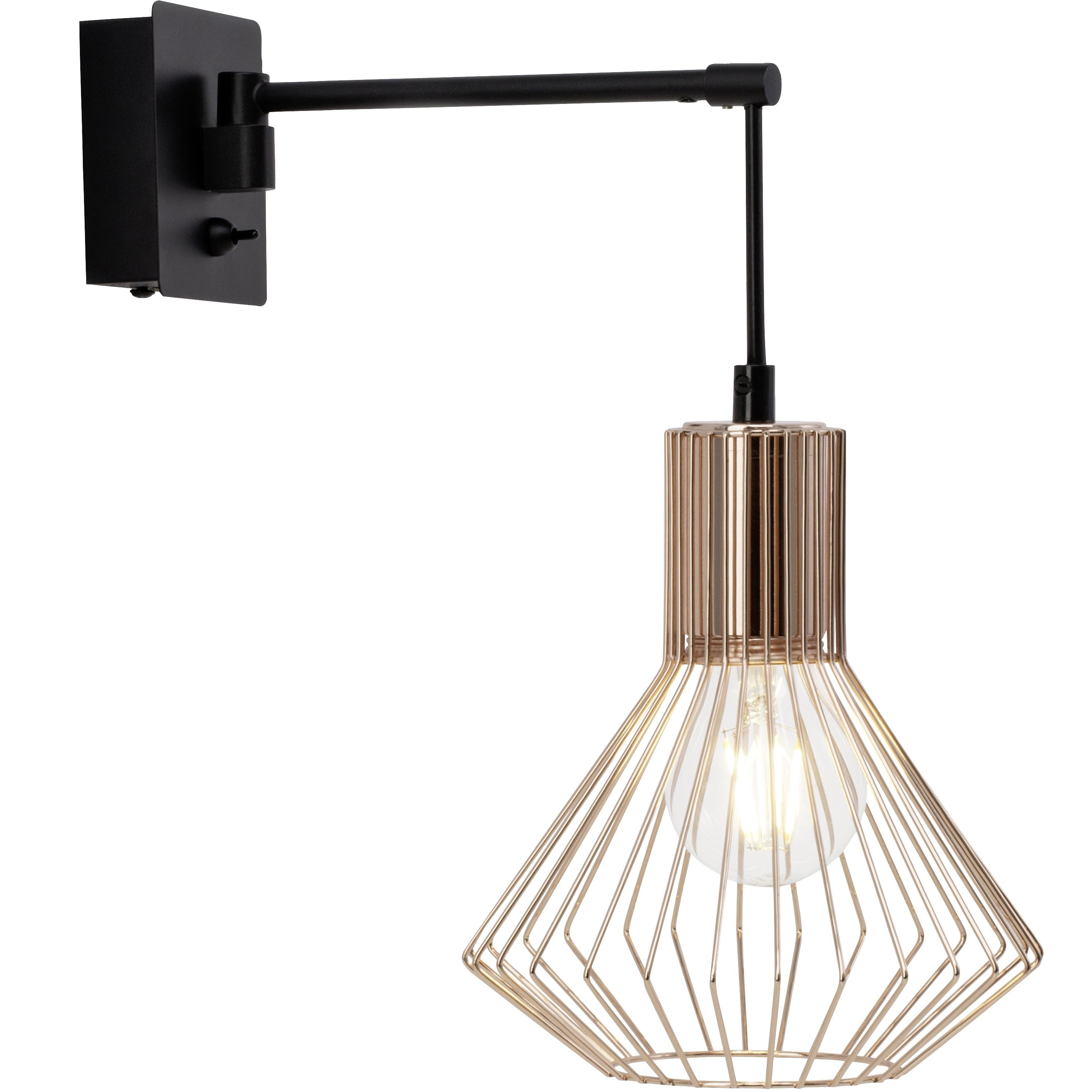 Brilliant Leuchten LED Wandleuchte, E27, Dalma Wandleuchte Schalter schwarz/kupfer