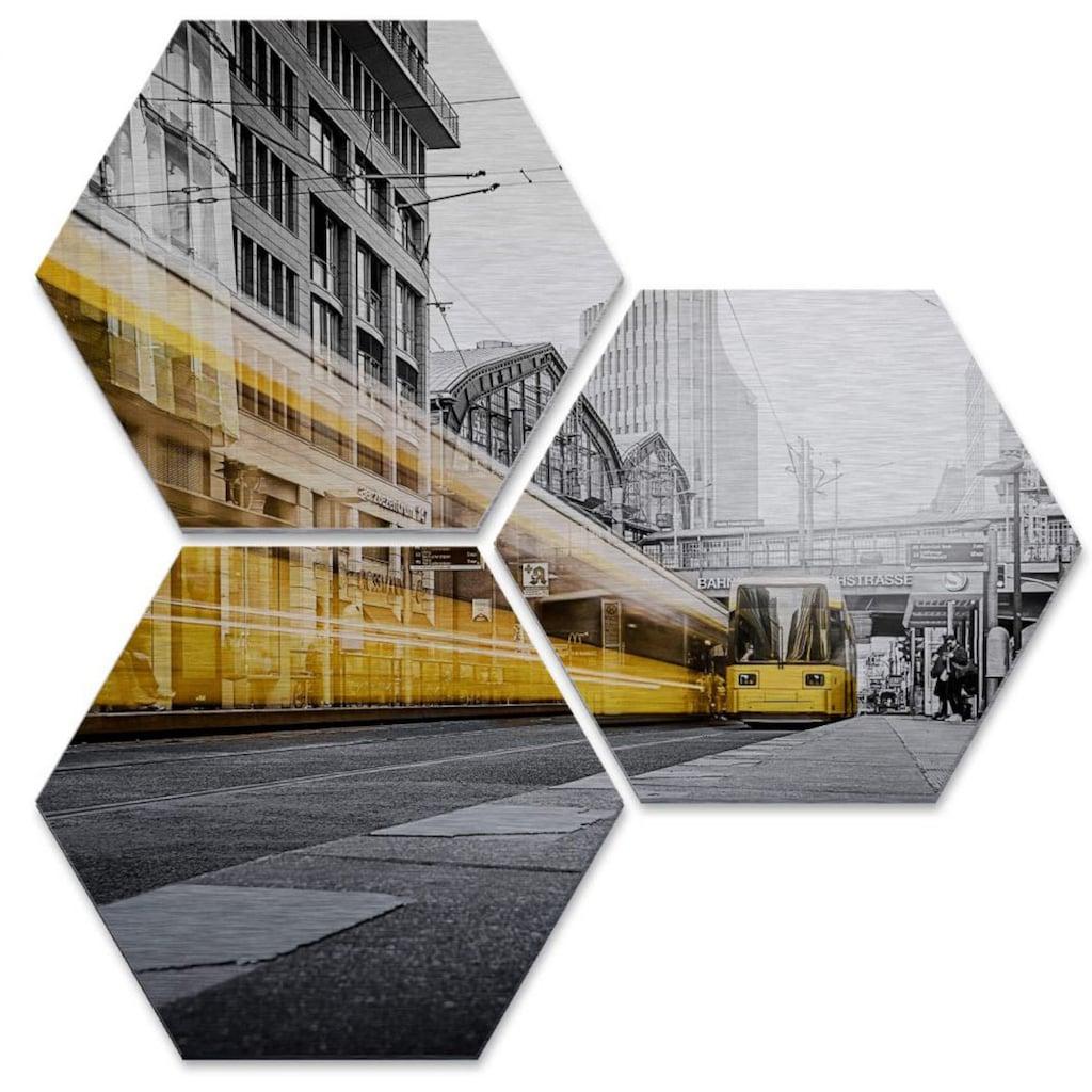 Wall-Art Mehrteilige Bilder »Silber Berlin Friedrichstrasse«, (Set, 3 St.)