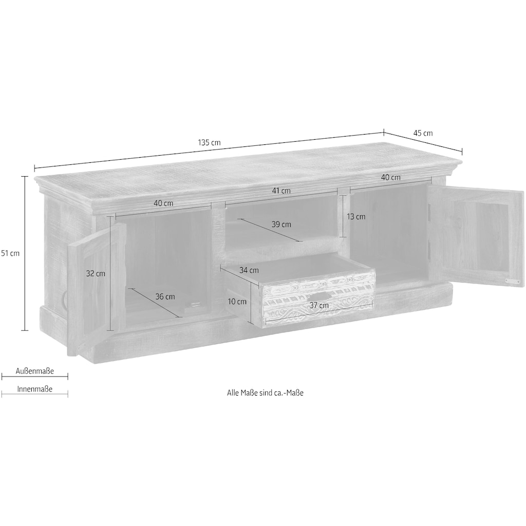 Home affaire Lowboard »Maneesh«, aus schönem massivem Mangoholz und mit vielen Stauraummöglichkeiten, Breite 135 cm