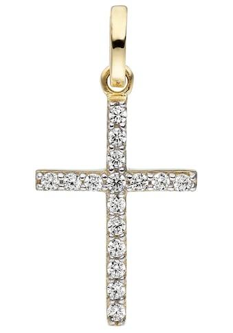 JOBO Kreuzanhänger, Kreuz 375 Gold mit Zirkonia kaufen