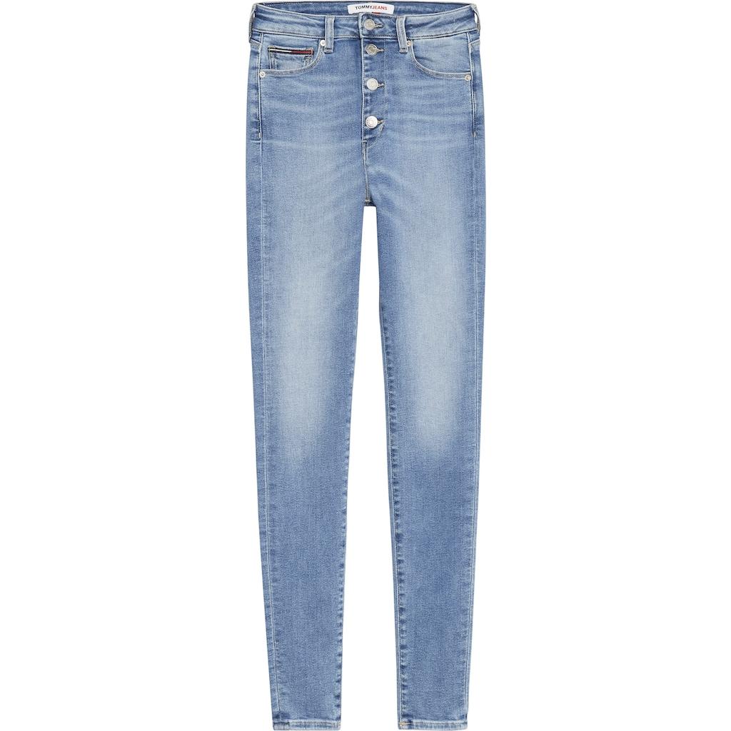 Tommy Jeans Skinny-fit-Jeans »SYLVIA HR SPR SKNY ANKLE«, mit Faded-out Effekten & Tommy Jeans Logo-Badge