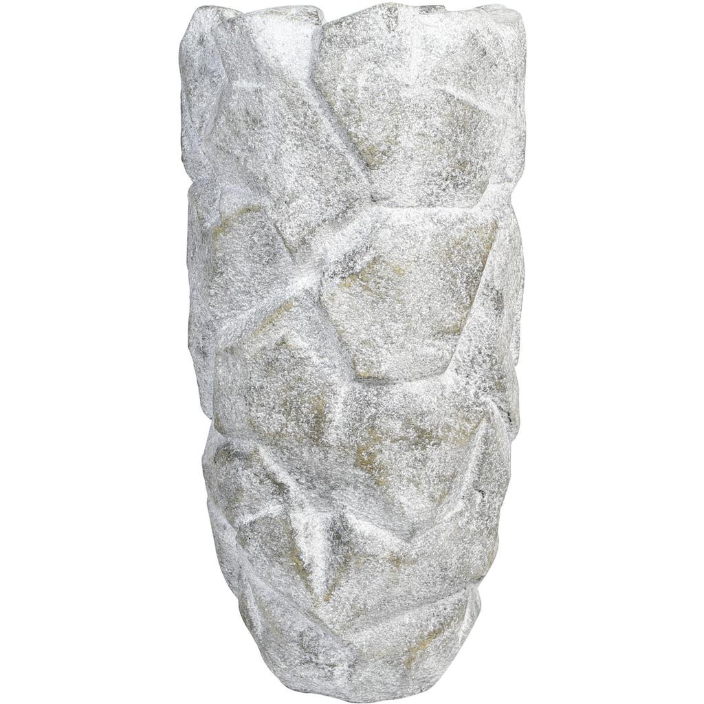 GILDE Pflanzkübel »Rock, grau«, (1 St.), dekorativer Blumentopf, groß, aus Magnesia, in verschiedenen Größen erhältlich, In- und Outdoor geeignet, Wohnzimmer