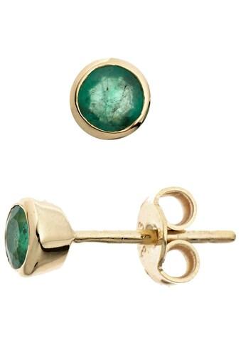 JOBO Paar Ohrstecker, rund 333 Gold mit Smaragd kaufen