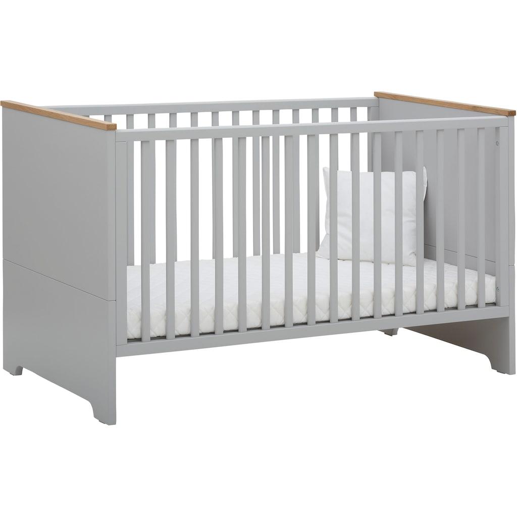 Lüttenhütt Baby Babyzimmer-Komplettset »Lauris, grau/eiche«, (Set, 3 St.), FSC®-Holz aus gewissenhaft bewirtschafteten Wäldern; mit Kinderbett, Schrank und Wickelkommode