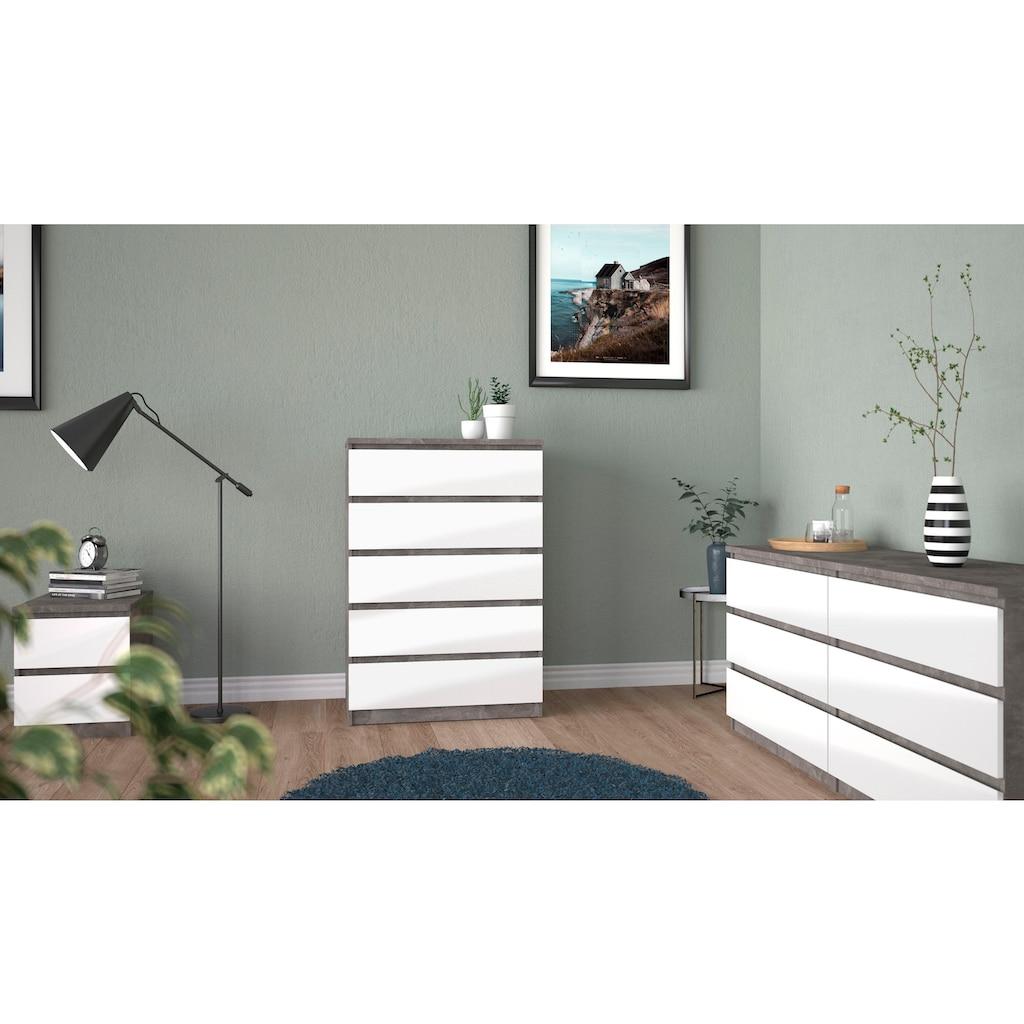 Home affaire Hochkommode »Naia«, mit einer Hochglanz-Optik, mit abgerundeten Schubladenkanten, Schubladen auf Metallgleiter, made in Denmark