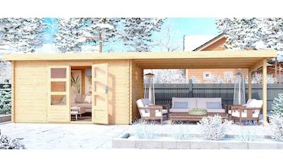 WOODFEELING Set: Gartenhaus »Trittau 5«, BxT: 806x333 cm, mit Anbaudach kaufen