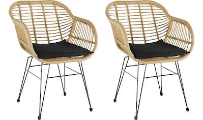 Homexperts Rattanstuhl »Ylvi«, (2 Stück), Sitzschale aus Kunststoff in Rattan-Optik mit Sitzkissen in Stoffbezug kaufen